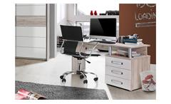 Schreibtisch Rondino Bürotisch Tisch in Sandeiche und weiß Hochglanz 138x60 cm
