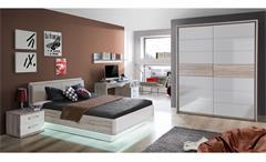 Jugendzimmer Rondino Komplett Set Kinderzimmer in Sandeiche und weiß Hochglanz