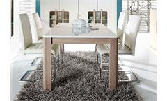 Esstisch Attention Tisch Esszimmertisch weiß Glanz Sonoma Eiche ausziehbar