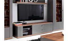 TV-Board Burgos Lowboard TV-Unterschrank Wolfram grau Sangallo Eiche