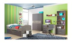 Jugendzimmer Jimmy Kinderzimmer Bett Schrank Regal Sonoma Eiche grau matt