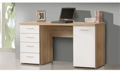 Schreibtisch Net106 Bürotisch Laptoptisch Sonoma Eiche und weiß matt 145x60 cm