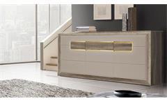 Sideboard Tizianos Kommode Anrichte in beige Hochglanz und Antik Eiche mit LED