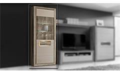Vitrine 2 Tizianos Highboard Schrank in beige Hochglanz und Antik Eiche mit LED