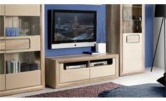 TV-Board Tizianos Lowboard Unterschrank in beige Hochglanz und Antik Eiche