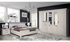 Schlafzimmerset 2 Kashmir Schlafzimmer Schrank Bett Nachtkommode in Pinie weiß