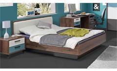 Bett Raven Jugendzimmerbett Doppelbett in Schlammeiche und weiß 140x200
