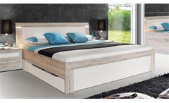 Bett Broadways Schlafzimmerbett Doppelbett in Sandeiche und weiß mit LED 180x200