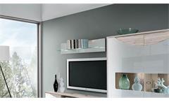 Wandboard Wave Regal Regalboard weiß Hochglanz und Sandeiche mit LED