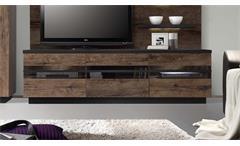 TV-Board Abro Lowboard Unterschrank in Schlammeiche und Schwarzeiche mit LED