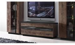 TV-Board Abro Unterschrank Lowboard in Schlammeiche und Schwarzeiche mit LED