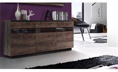 Sideboard Abro Kommode Anrichte in Schlammeiche und Schwarzeiche mit LED