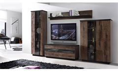 Wohnwand 2 Abro Anbauwand Wohnzimmer in Schlammeiche und Schwarzeiche LED