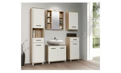 Badezimmerset 1 Verisa Badmöbel in weiß Hochglanz und Sonoma Eiche mit LED