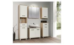 Badezimmerset 2 Verisa Badmöbel in weiß Hochglanz und Sonoma Eiche mit LED