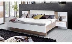 Bettanlage Ginger Bett Nachtkommode Schlafzimmerset Sonoma Eiche weiß 180x200