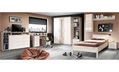 Jugendzimmer Beach 8-teilig Schrank Bett 90x200 Sideboard Schreibtisch Regal