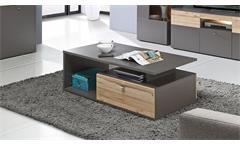 Couchtisch Como Beistelltisch Tisch in Uni Wolfram grau und Planked Eiche 120