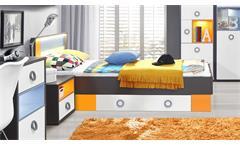 Bett Colors Bettgestell Jugendzimmer in Uni Wolfram grau weiß orange blau 90x200
