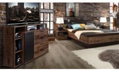 bettanlage chilly bett nachtkommode schlammeiche und eiche schwarz 180. Black Bedroom Furniture Sets. Home Design Ideas