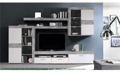 esstisch stone tisch beton optik grau und wei hochglanz 140 180x80 cm. Black Bedroom Furniture Sets. Home Design Ideas