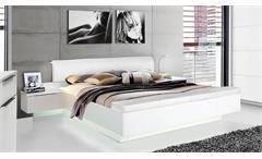 Bettanlage Starlet Plus mit 2 Nachtkommoden und Stauraum weiß Hochglanz 180x200