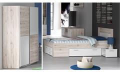Jugendzimmer Stefan 2-tlg Sandeiche und weiß Bettanlage und Schwebetürenschrank