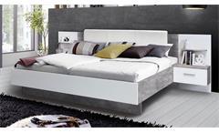 Bettanlage Ginger Bett 180x200 mit Nachttisch Bettanlage weiß Betonoptik