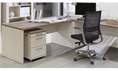 Arbeitszimmer Duro Büro Set Home Office 5-teilig Pinie weiß und Eiche
