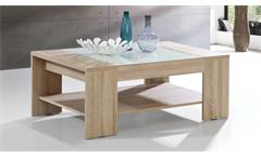 Couchtisch Brady Tisch Beistelltisch Wohnzimmertisch in weiß mit Glas schwarz