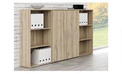 Regalwand Mindi Regal Schrank Aktenschrank Büroschrank in Eiche Bianco 3-teilig