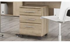 Rollcontainer Mindi Bürocontainer Rollschrank Arbeitszimmer in Eiche Bianco