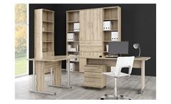 Arbeitszimmer MINDI Home Office in Eiche Bianco 6-teilig