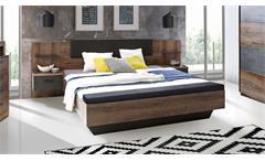 Bettanlage Chilly Bett Nako in Schlammeiche und Eiche schwarz mit Fußbank 180