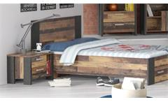 Nachtkommode Clif Nachttisch Nachtschrank old wood vintage und Beton dunkelgrau