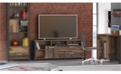 TV-Board Clif Lowboard TV-Schrank TV-Unterteil old wood vintage Beton dunkelgrau