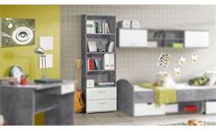 Regal Lupo Bücherregal Standregal Schrank Jugendzimmer in Beton grau und weiß