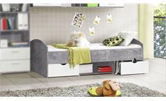 Bett Lupo Jugendbett Bettgestell Jugendzimmer in Beton grau und weiß 90x200 cm