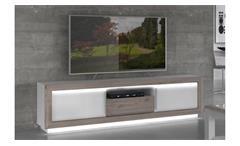 TV-Board Canne Lowboard TV-Schrank MDF Nelson Eiche und weiß Hochglanz inkl. LED