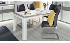 Esstisch Canne Esszimmertisch Tisch MDF Nelson Eiche weiß Hochglanz 160-207 cm