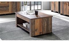 Couchtisch Clif Wohnzimmertisch Tisch in old wood vintage hochklappbar 110x65 cm