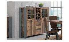 Highboard Clif Schrank Anrichte Vitrine in old wood vintage und Beton dunkelgrau