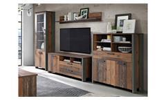 Wohnwand Clif Anbauwand Schrankwand Wohnzimmer old wood vintage Beton dunkelgrau