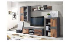 Wohnwand Grigor Anbauwand Wohnzimmer Wohnkombi Old Wood Vintage und Beton grau