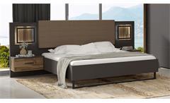Bettanlage SIRIUS BLACK Bett grau und Stabeiche mit LED