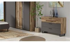 Kommode Sirius Black Sideboard Anrichte Schlafzimmer in grau und Stabeiche