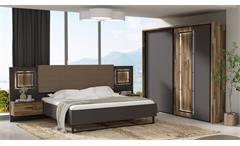 Schlafzimmer Set Sirius Black Bett Schrank Nako in grau und Stabeiche mit LED