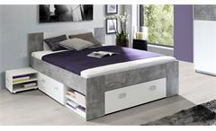 Bettanlage Stefan Bett mit Nachtkommode Jugendzimmer in Beton grau weiß 140x200