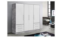Kleiderschrank Jupiter Drehtürenschrank Schlafzimmerschrank in Beton weiß 206 cm