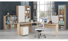 Büroschrank Tempra Aktenschrank Schrank Büromöbel Sonoma Eiche und weiß 72x197